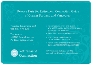 Portland/ Vancouver Retirement Connection Release Party @ The Armory | Portland | Oregon | United States