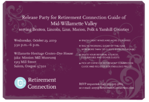 Mid-Willamette Valley Retirement Connection Guide Release Party @ Willamette Heritage Center | Salem | Oregon | United States
