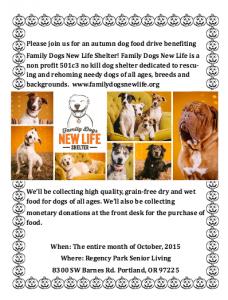 Family Dogs New Life Shelter Food Drive @ Regency Park Senior Living | Portland | Oregon | United States