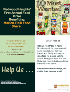Redwood Heights 1st annual food drive! @ Redwood Heights Assisted Living