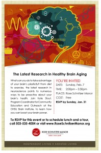 "Get the latest research in ""Healthy Brain Aging"" @ Rose Schnitzer Manor 