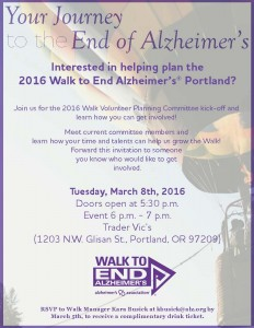 Walk to End Alzheimer's Portland - Volunteer Committee Recruiting Mixer @ Brix Tavern, Whiskey Room | Portland | Oregon | United States
