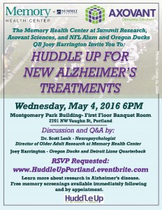 """Huddle-up"" for New Research Treatment for Alzheimer's Disease @ Montgomery Park 