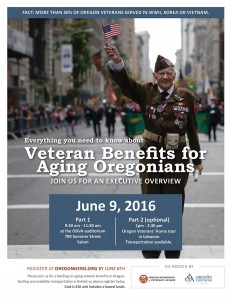 Veteran Benefits for Aging Oregonians @ Oregon Department of Veterans' Affairs Auditorium | Salem | Oregon | United States