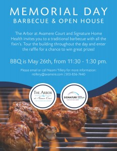 Memorial Day Barbeque and Open House @ The Arbor at Avamere Court