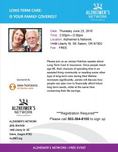 Long Term Care: Is Your Family Covered? @ Alzheimer's Network | Salem | Oregon | United States