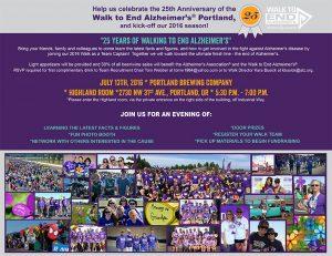 "Walk to End Alzheimer's 2016 New Team Kick-Off  ""25 Years of Walking to End Alzheimer's"" @ Portland Brewing Company * Highland Room | Portland | Oregon | United States"