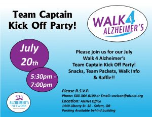 Walk 4 Alzheimer's Team Captain Kick Off @ Alzheimer's Network | Salem | Oregon | United States