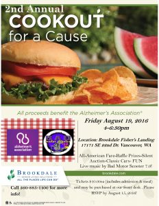 2nd Annual Cookout for a Cause Benefit for Alzheimer's @ Brookdale Fisher's Landing Assisted Living   Vancouver   Washington   United States