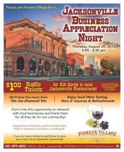 Jacksonville Business Appreciation Night @ Pioneer Village | Jacksonville | Oregon | United States