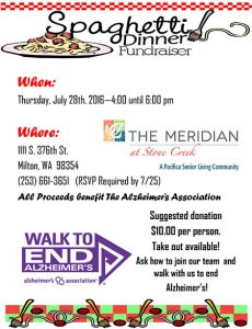 Spaghetti dinner fundraiser for The Walk to End Alzheimer's @ The Meridian at Stone Creek | Milton | Washington | United States