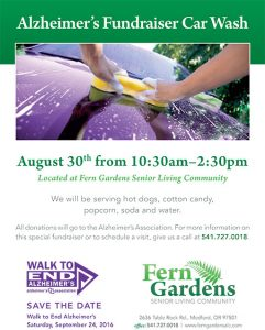 Alzheimer's Fundraiser Car Wash Event @ Fern Gardens Senior Living Community | Medford | Oregon | United States
