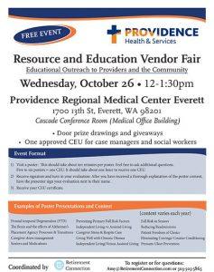 Providence Regional Medical Center Everett Case Management Vendor Fair @ Providence Regional Medical Center Everett, Cascade Conference Room (Medical Office Building) | Everett | Washington | United States
