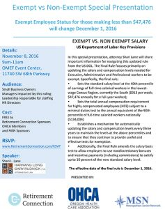 Exempt vs. Non-Exempt - Presentation on New Employee Salary Rule @ OMEF Event Center | Tigard | Oregon | United States