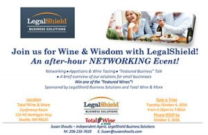 Wine and Wisdom with LegalShield Business Solutions @ Total Wine & More at Northgate | Seattle | Washington | United States