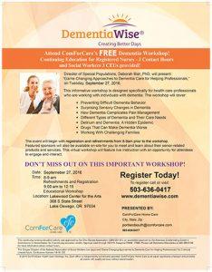 DementiaWise Workshop For Continuing Education - Morning Workshop @ Lakewood Center for the Arts   Lake Oswego   Oregon   United States