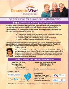 Game Changing Approach to Dementia Care for Family Caregivers - Virtual Workshop PM - Salem @ Village at Keizer Ridge   Keizer   Oregon   United States