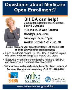 Medicare Open Enrollment In-Person Counseling - Sound Outreach Tacoma @ South Sound Outreach | Tacoma | Washington | United States