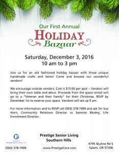 Our First Annual Holiday Bazaar @ Prestige Senior Living Southern HIlls | Salem | Oregon | United States