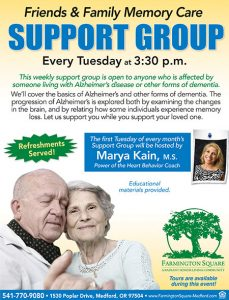 CANCELLED - Friends and Family Memory Care Support Group @ Farmington Square Medford | Medford | Oregon | United States