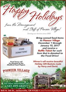 Pioneer Village Holiday Food Drive @ Pioneer Village | Jacksonville | Oregon | United States