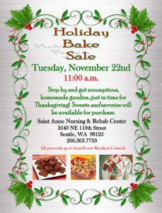 Saint Anne Nursing and Rehab Holiday Bake Sale! @ Saint Anne Nursing & Rehab Center   Seattle   Washington   United States