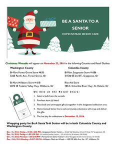 Be A Santa To A Senior Wrapping Parties @ Scappoose Senior Center   Scappoose   Oregon   United States