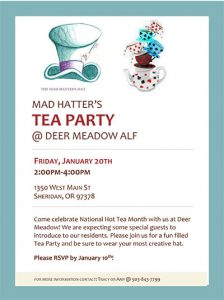 Mad Hatter Tea Party @ Deer Meadow Assisted Living | Sheridan | Oregon | United States