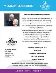 Memory Screening @ Chintimini Senior Center   Corvallis   Oregon   United States