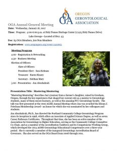 OGA Annual General Meeting @ Holy Names Heritage Center | Lake Oswego | Oregon | United States
