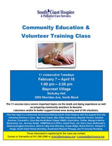 Community Education and Volunteer Training Class @ Baycrest Village | North Bend | Oregon | United States