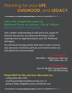 Planning Your Life, Livilihood, and Legacy: A Legal Discussion @ Northwest Place   Portland   Oregon   United States