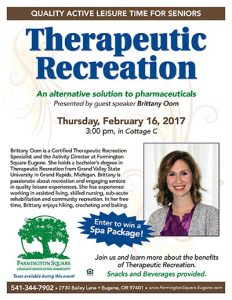 The Benefits of Therapeutic Recreation @ Farmington Square Eugene | Eugene | Oregon | United States