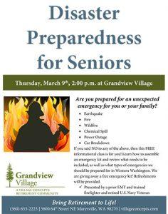 Emergency Preparedness for Seniors @ Grandview Village Retirement Community | Marysville | Washington | United States