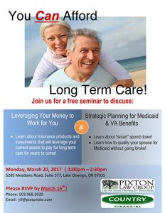You Can Afford Long Term Care! @ Pixton Law Group Board Room | Lake Oswego | Oregon | United States