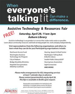 Free! Assistive Technology and Resources Fair @ KCLS Auburn Library | Auburn | Washington | United States