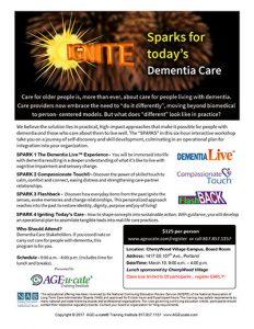 Ignite Sparks for today's Dementia Care Seminar @ CherryWood Village Campus, Board Room   Portland   Oregon   United States