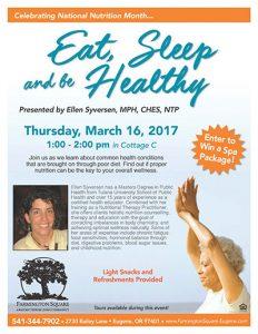Eat, Sleep and Be Healthy @ Farmington Square Eugene | Eugene | Oregon | United States