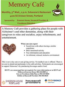 Memory Cafe @ Sckavone's Restaurant | Portland | Oregon | United States