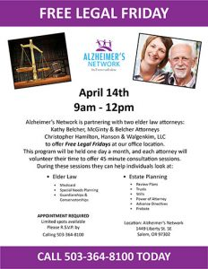 Free Legal Friday @ Alzheimer's Network   Salem   Oregon   United States