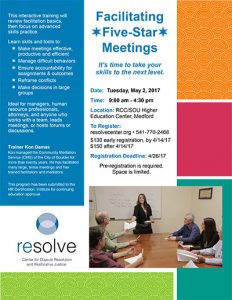 Facilitating Five-Star Meetings @ RCC/SOU Higher Education Center | Medford | Oregon | United States