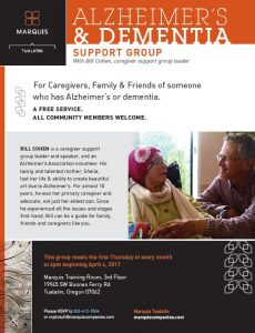 Alzheimer's and Dementia Support Group @ Marquis Tualatin | Tualatin | Oregon | United States