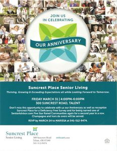 Join Us In Celebrating Our Anniversary | Suncrest Place @ Suncrest Place | Talent | Oregon | United States