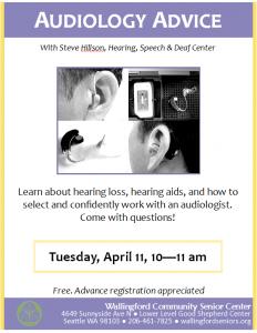Audiology Advice @ Wallingford Community Senior Center | Seattle | Washington | United States
