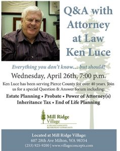 Question and Answer with Attorney Ken Luce @ Mill Ridge Village | Milton | Washington | United States