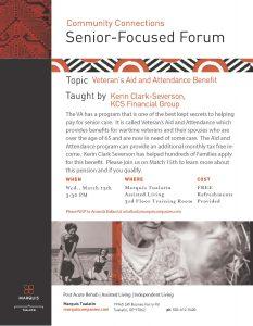 Veteran's Aid Benefit - Info Session @ Marquis Tualatin | Tualatin | Oregon | United States