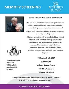 Memory Screening @ Albany Senior Center   Albany   Oregon   United States
