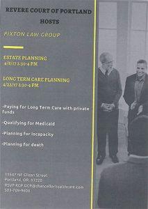 Revere Court of Portland Hosts Pixton Law @ Revere Court of Portland | Portland | Oregon | United States