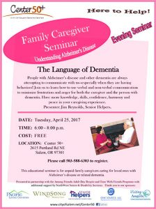 Family Caregiver Seminar - The Language of Dementia @ Center 50+ | Salem | Oregon | United States