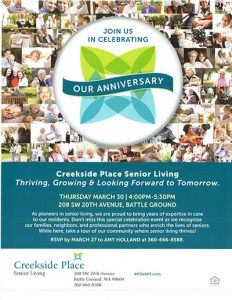 Creekside Place Anniversary Party @ Creekside Place Senior Living | Battle Ground | Washington | United States